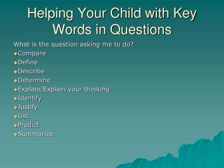 Helping Your Child with Key Words in Questions