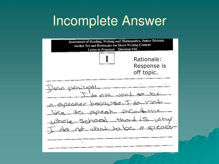 Incomplete Answer