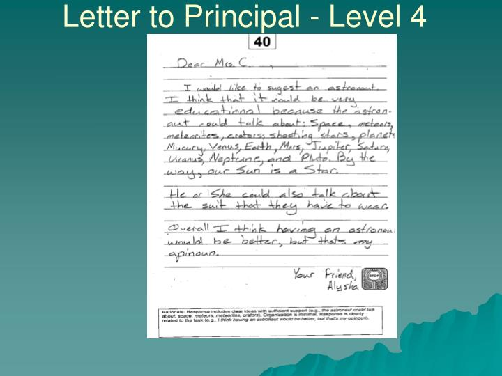 Letter to Principal - Level 4