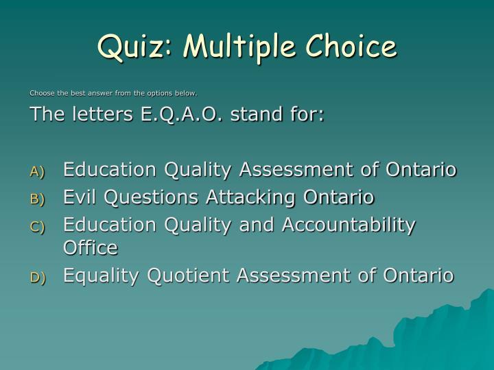 Quiz multiple choice