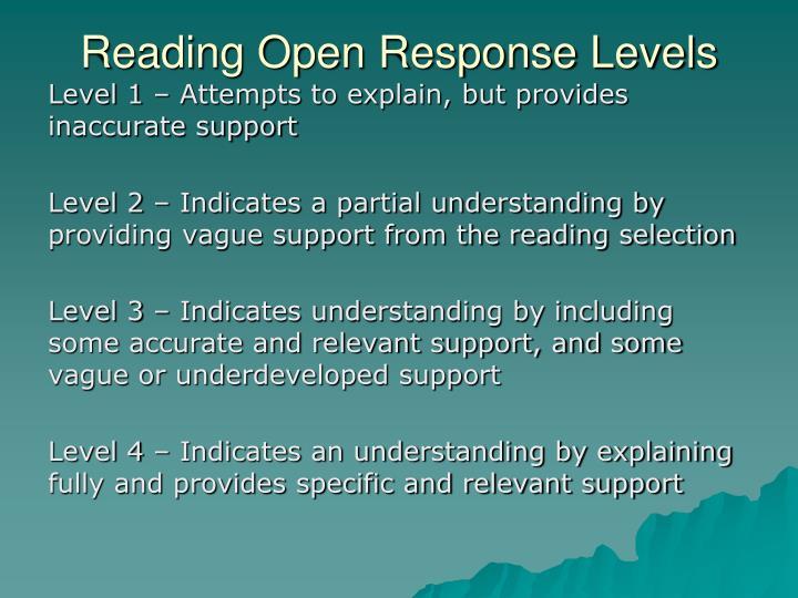 Reading Open Response Levels