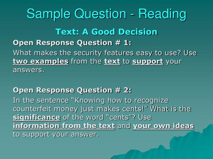 Sample Question - Reading