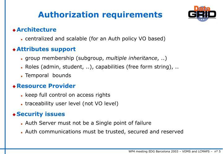 Authorization requirements