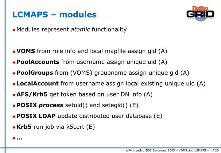 LCMAPS – modules