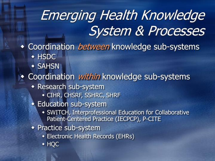 Emerging Health Knowledge System & Processes