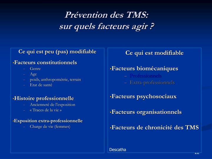 Prévention des TMS: