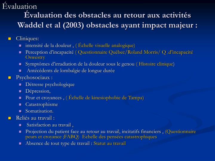 Évaluation des obstacles au retour aux activités  Waddel et al (2003) obstacles ayant impact majeur :