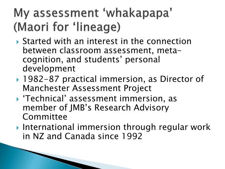 My assessment whakapapa maori for lineage