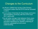 changes to the curriculum