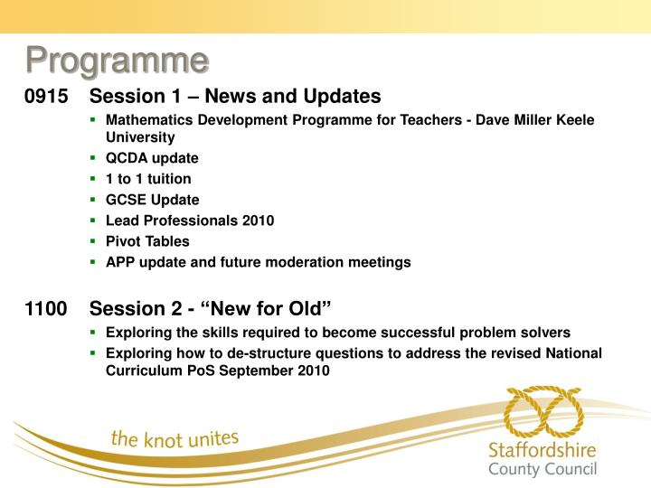 0915	Session 1 – News and Updates