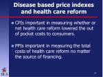 disease based price indexes and health care reform