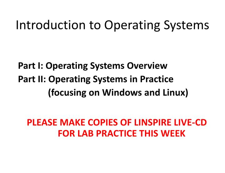 introduction to operating systems n.