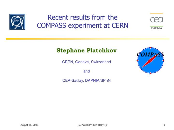recent results from the compass experiment at cern n.