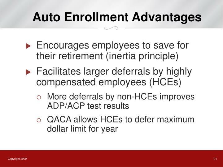 Auto Enrollment Advantages