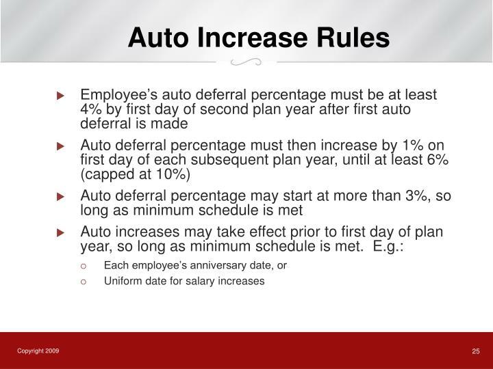 Auto Increase Rules