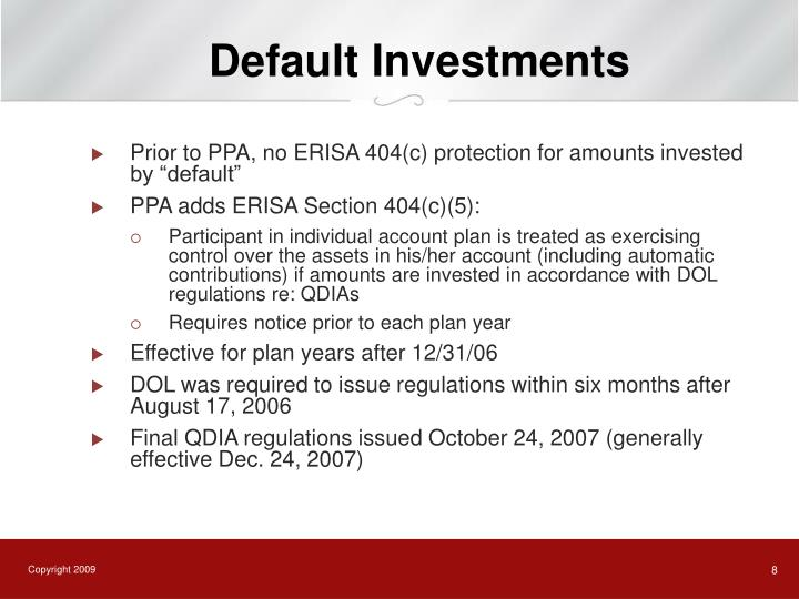 Default Investments