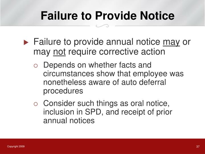 Failure to Provide Notice