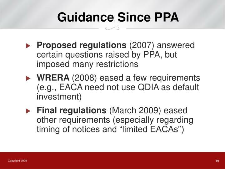 Guidance Since PPA