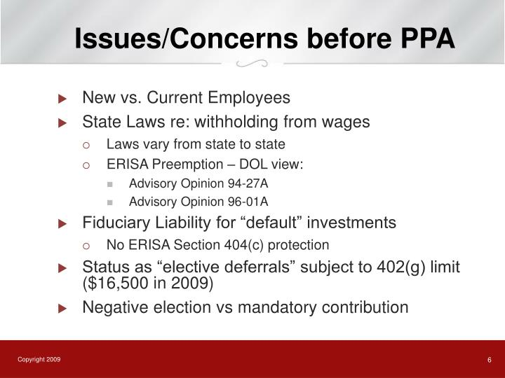 Issues/Concerns before PPA