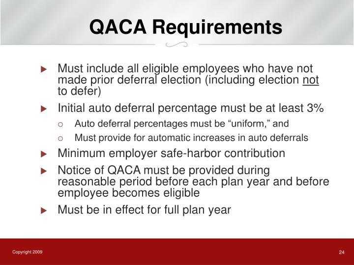 QACA Requirements