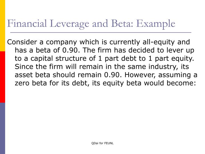 Financial Leverage and Beta: Example