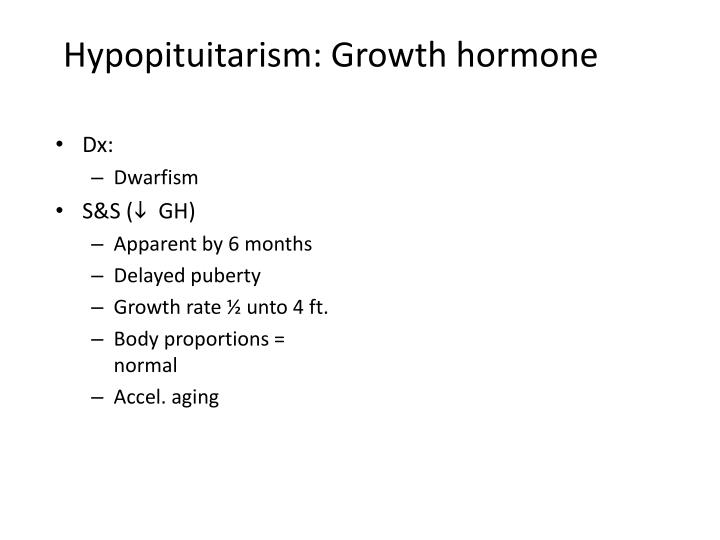 Hypopituitarism: Growth hormone