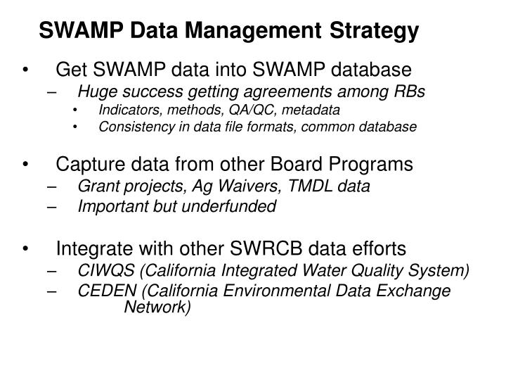 SWAMP Data Management