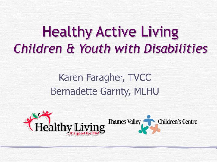 healthy active living children youth with disabilities n.