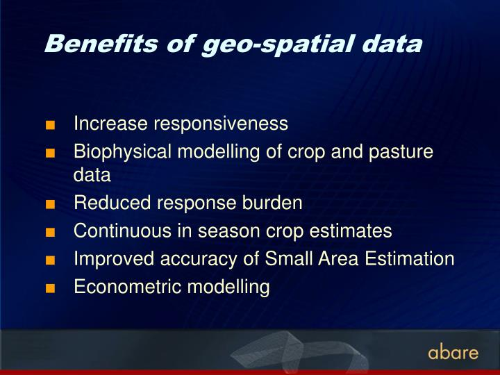 Benefits of geo-spatial data