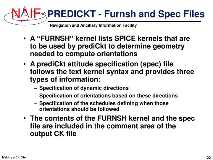 PREDICKT - Furnsh and Spec Files