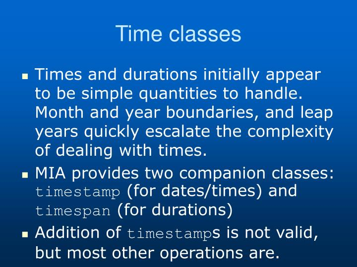Time classes