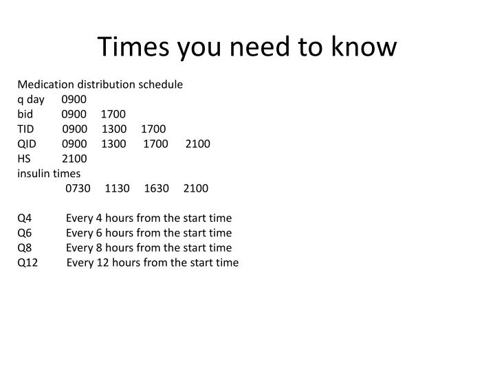 Times you need to know