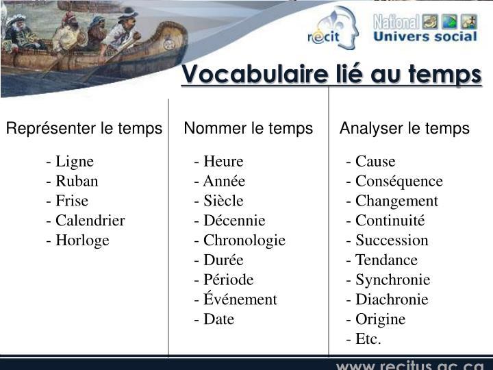 Vocabulaire lié au temps