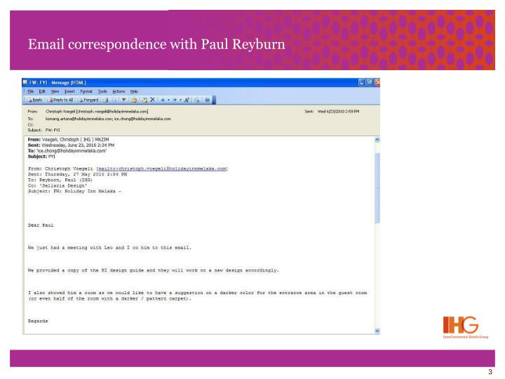 Email correspondence with paul reyburn