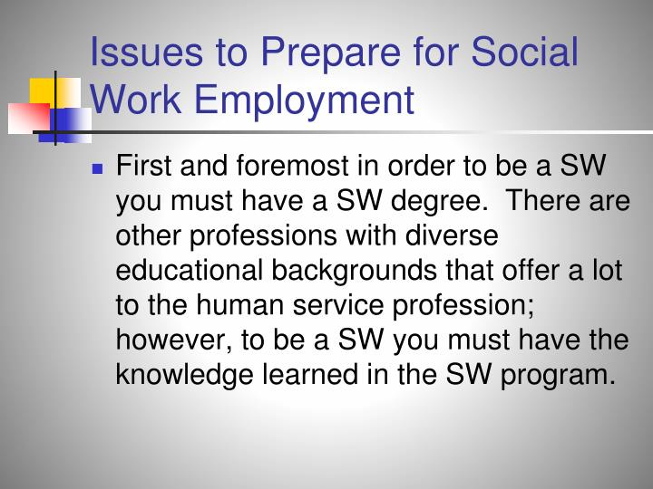 Issues to Prepare for Social Work Employment