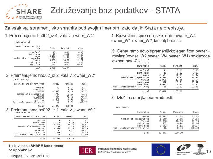 Združevanje baz podatkov - STATA
