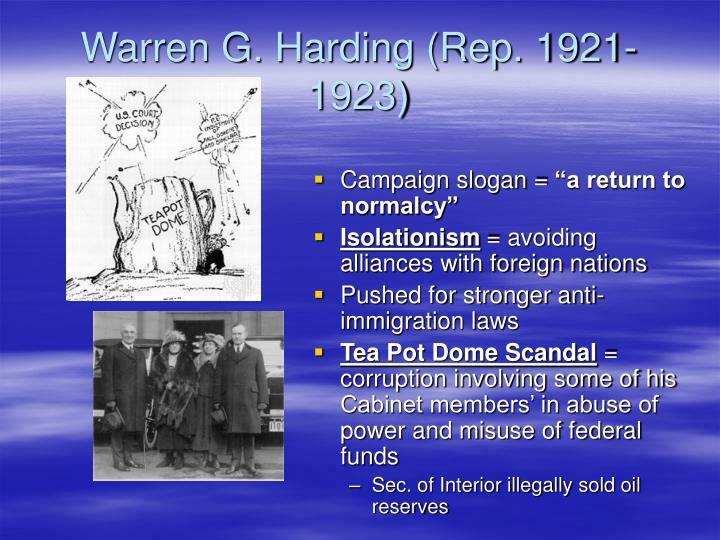 Warren G. Harding (Rep. 1921-1923)