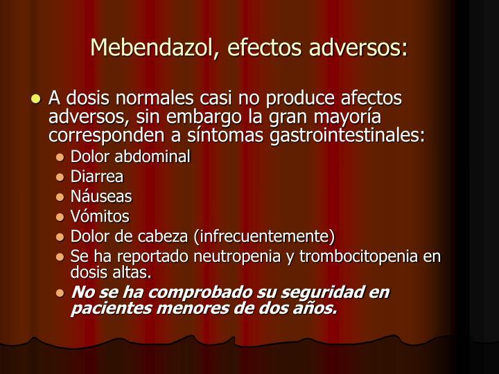 Mebendazol, efectos adversos: