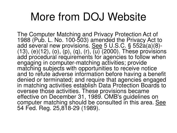 More from DOJ Website