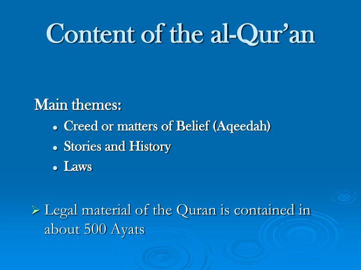 Content of the al-Qur'an
