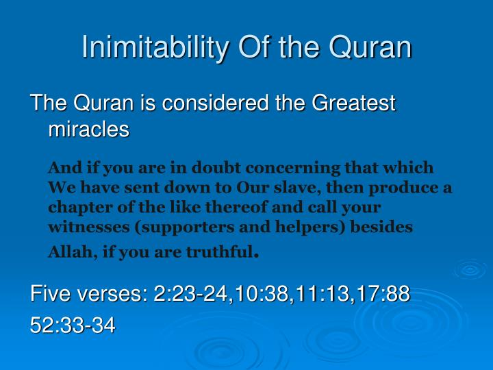 Inimitability Of the Quran