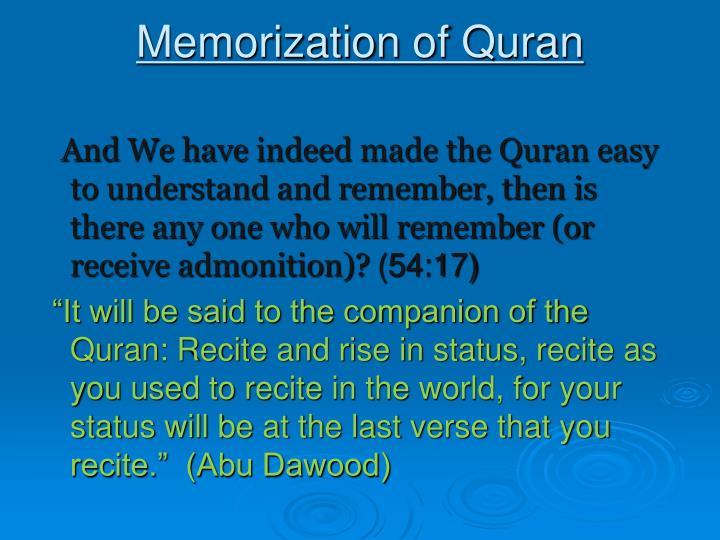 Memorization