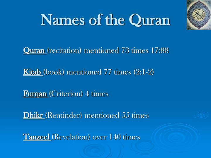 Names of the Quran