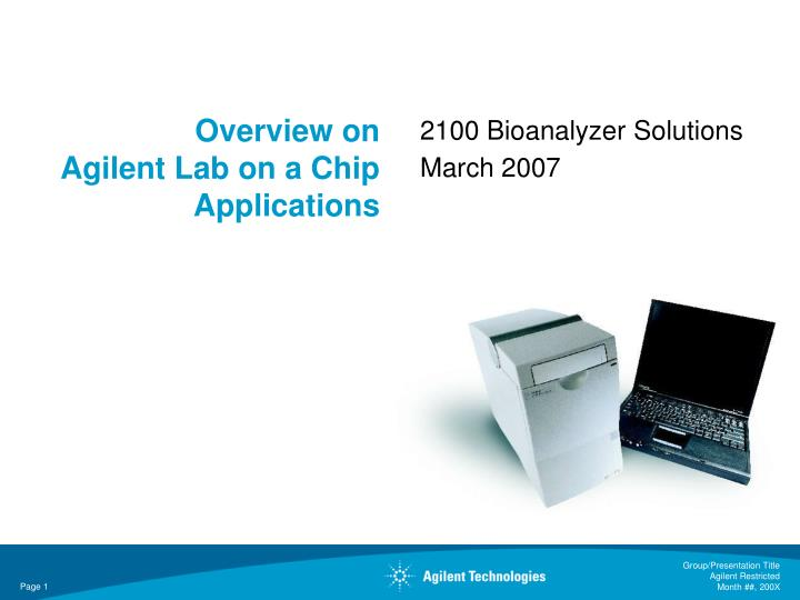 overview on agilent lab on a chip applications n.