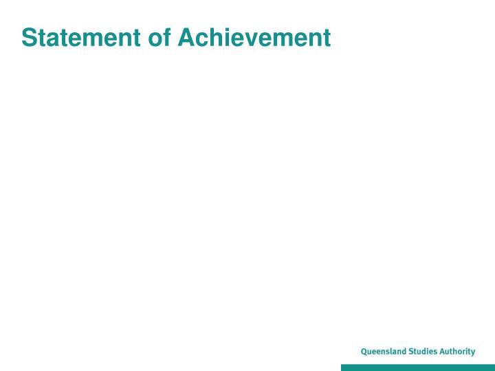 Statement of Achievement