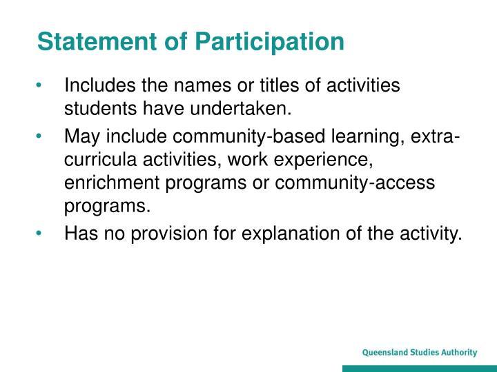 Statement of Participation