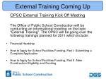 external training coming up