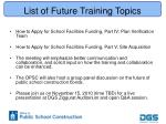 list of future training topics