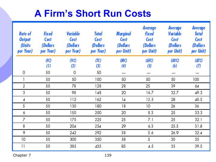 A Firm's Short Run Costs