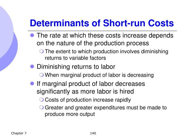 Determinants of Short-run Costs